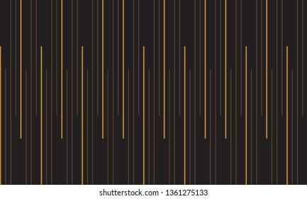 Abstract vertical stripe of pattern vector. Design random line gradient gold on black background. Design print for illustration, textile, wallpaper, background. Set 5