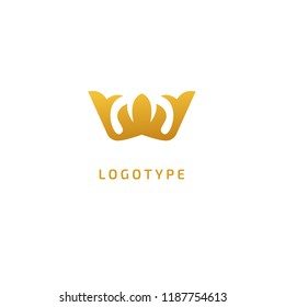 Abstract vetor crown logo vector design. Sign for beauty salon, elite accessories, jewelry, hotels, spa, wedding. Vintage decorative icon qween, king, princess. Abstract sign, vector logotype.