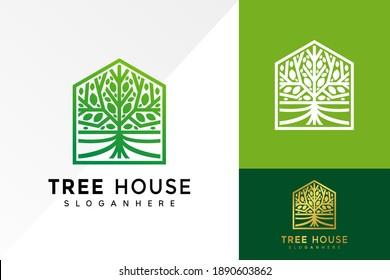 Abstract vibrant tree House logo design, Root Leaf business logos vector, modern logo, Logo Designs Vector Illustration Template