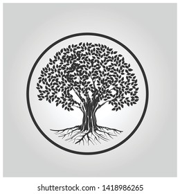 Abstract vibrant tree logo with circle surrounding it