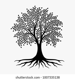 Abstract vibrant tree logo design, root vector - Tree of life logo design inspiration isolated on white background