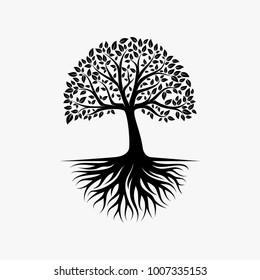 Abstract vibrant tree logo design, root vector - Tree of life logo design inspiration
