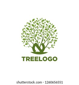 Abstract vibrant tree logo design, root vector - Tree of life logo design inspiration - Vector tree letter N