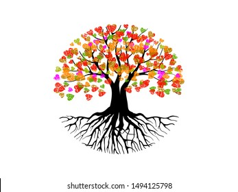 Abstract vibrant tree logo design, circular tree and roots, the leaves shaped heart symbol.  hand drawn art vector isolated.
