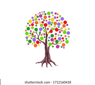Abstract vibrant tree logo design, colorful leaves, roots vector