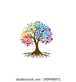 Abstract vibrant tree logo design, root vector