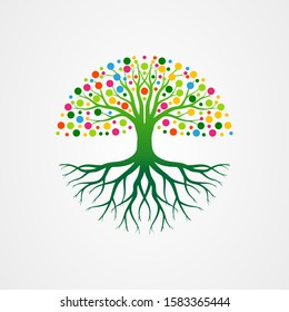 Abstract vibrant tree with roots and leaves shaped circle. tree with round shape vector illustration.