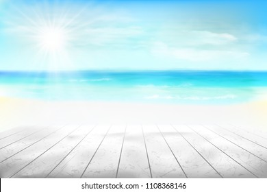 Abstract view of the beach. Vector Illustration.
