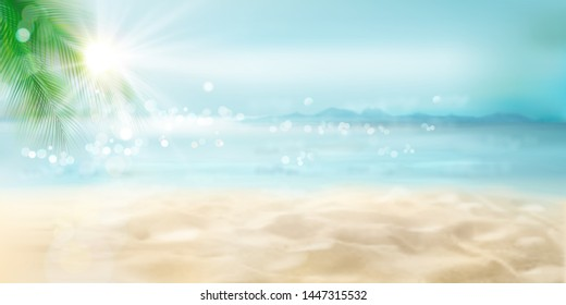 Abstract view of the sandy beach with a palm tree. Tropical resort. Sunrise on the seashore. Vector Illustration.