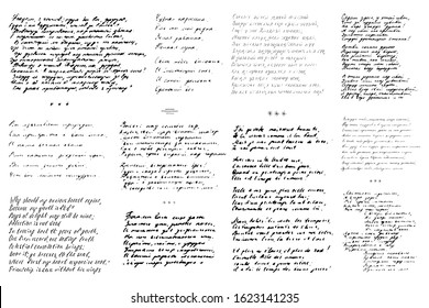 Abstract vintage background of illegible ink-written poetry isolated on a white background. Set of 11 hand-written poems. Vector illustration