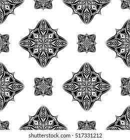 abstract vintage chinese wallpaper pattern seamless black and white background. Vector illustration