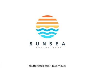 Abstract Vintage Circular Sun and Sea Wave Logo. Flat Vector Logo Design Template Element.