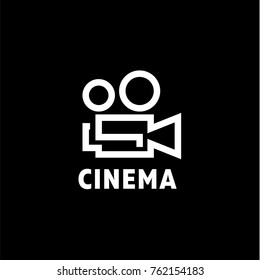 Abstract vintage classic camera for shooting movies and photos in a minimal logo design vector image style