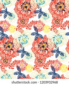 Abstract vintage floral pattern with colourful flowers and tropical leaves. Jungle modern texture with plants. Background with roses and peonies.
