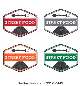 Abstract vintage label with text Street food. Vector