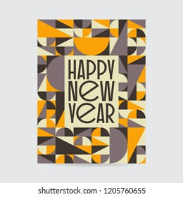 Abstract vintage mid century new year card design. Abstract geometric vintage design.