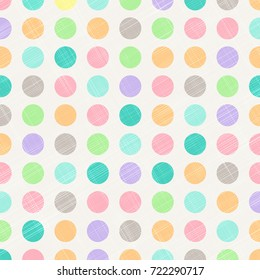 Abstract Vintage Polka Dots Circles Pattern Background With Fabric Texture. Perfect for nursery, birthday, circus themed designs. craft. Vector Illustration