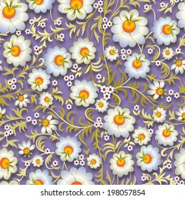 abstract vintage seamless floral ornament with white flowers on purple background