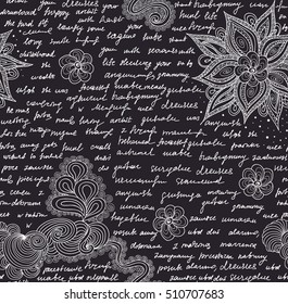 "Abstract vintage vector endless seamless texture with handwritten text, words and letters, ""chalk on grey board"" effect"