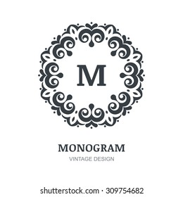 Abstract vintage vector logo. Elegant monogram design template. Decorative frame background. Concept for restaurant, floral shop, boutique, hotel, jewelry, fashion, wine, heraldic, emblem.
