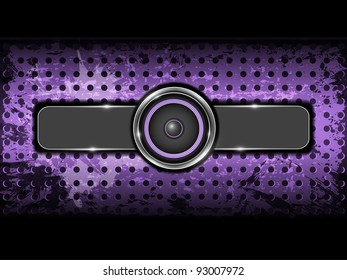 Abstract violet background with metallic circle speaker and perforated pattern plate. Part of set. Vector art.
