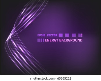 Abstract violet background with wavy energy lines for your design.