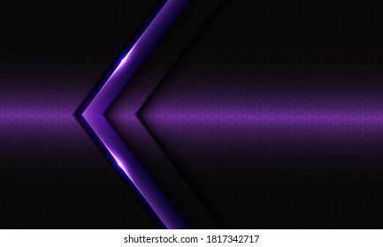 Abstract violet glossy arrow on dark hexagon mesh pattern design modern luxury futuristic background vector illustration.