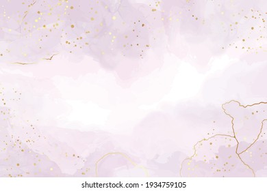 Abstract violet liquid watercolor background with golden stains and lines. Pastel alcohol ink drawing effect. Modern fluid art painting with glitter. Vector illustration design template for wedding