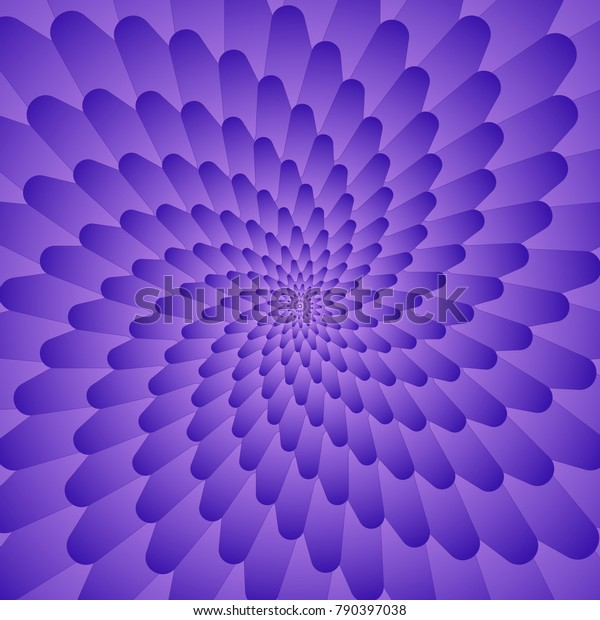 Abstract violet optical illusion, creative vector background with gradient petals, movement simulation