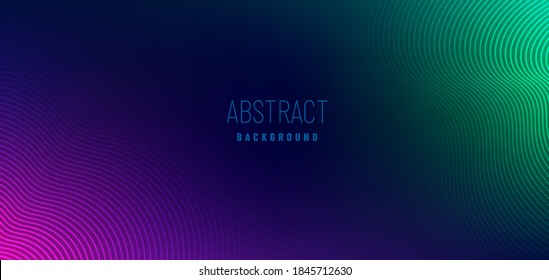 Abstract violet purple and green wavy line pattern on dark blue background with copy space. Modern tech futuristic neon color banner concept. Vector illustration
