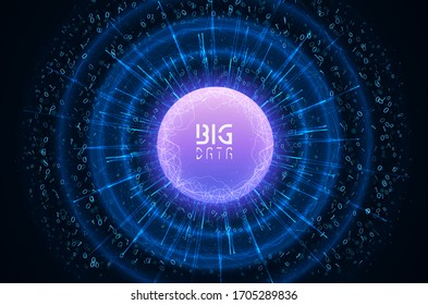 Abstract virtual digital stream. Flowing binary code and neon glowing wave. Storage cloud structure. Big data transfer concepts in internet. Graphic concept for your design.