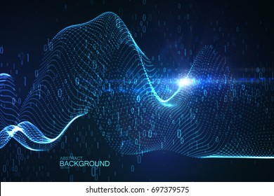 Abstract virtual digital stream. Futuristic vector illustration with flowing binary code and neon glowing wave. Storage cloud structure. Data transfer or signal transmission concept.