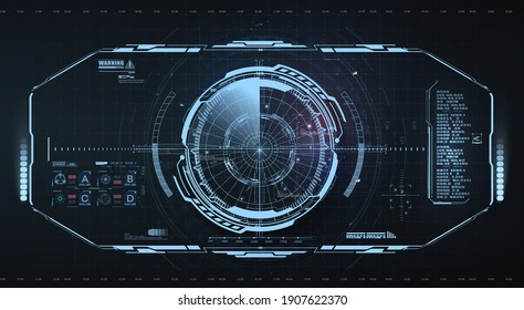 Abstract virtual graphic touch user interface.  Sky-fi helmet with futuristic Interface. Military radar screen dashboard. Interactive target capture system. VR view. Head up display, cockpit center.