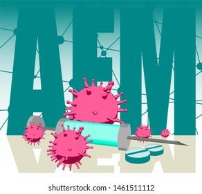 Abstract virus image on backdrop and AFM text. AFM virus danger relative illustration. Medical research theme. Virus epidemic alert. Acronym AFM - Acute flaccid myelitis