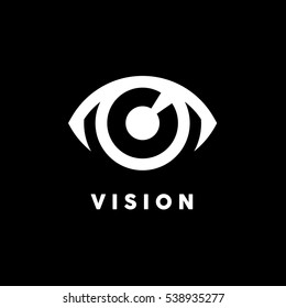 Abstract vision logo with white eye icon concept on black background. Vector illustration.