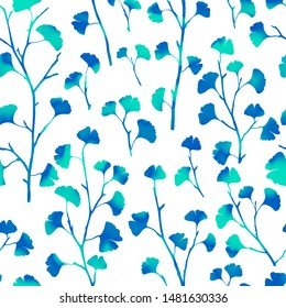 Abstract vivid leaves pattern seamless background. Blue ginkgo biloba, ginko, ginkgo branches repeat design in Japanese style minimalist gradient trendy modern floral botanical holographic art texture