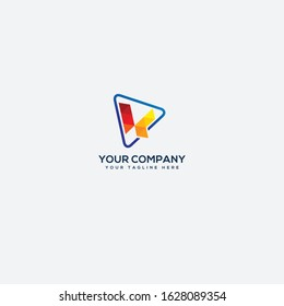 abstract VK letter logo and line triangle red VK
