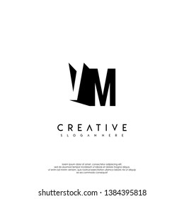 abstract VM logo letter in shadow shape design concept