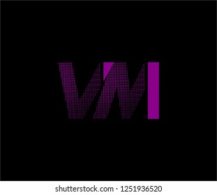 Abstract VM pattern pixel bit squares geometric modern tech logo