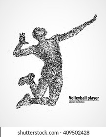 Abstract volleyball jump on the pitch of the black circles. Vector illustration.