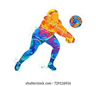 Abstract volleyball player jumping from a splash of watercolors. Vector illustration of paints.