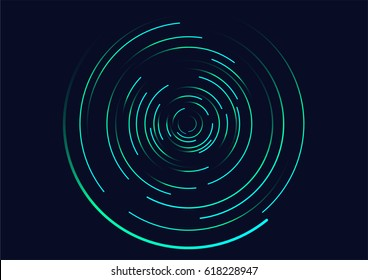 Abstract vortex, circular swirl lines. Star trails around in the night sky.  Luminous helix