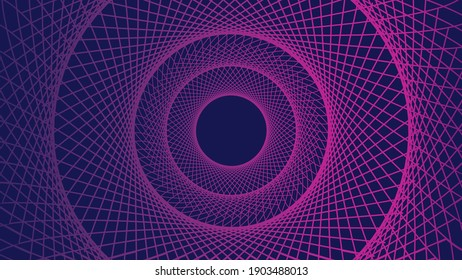 Abstract vortex pattern. Tunnel or warmhole grid. Wireframe circle tech backdrop. Futuristic ripple or echo effect. Purple on blue background. Intertwined lines make a sphere. Vector illustration.