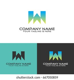 abstract w initial art simple logo