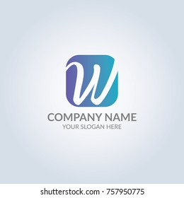 Abstract w symbol logo in blue gradient color. Template for your design