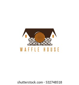 abstract waffle brick house vector design template