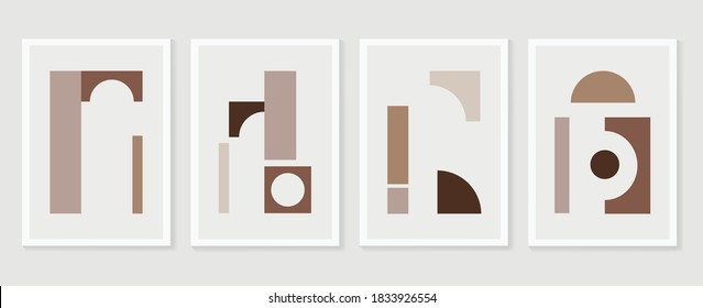 Abstract wall art vector collection.  Abstract organic shape Art design for poster, print, cover, wallpaper, Minimal and  natural wall art. Vector illustration.