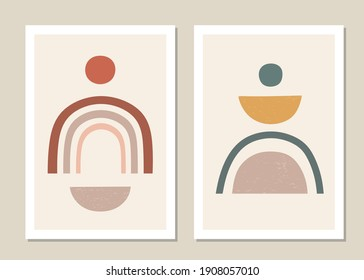 Abstract wall art vector set. Abstract rainbow patterns and shapes for collages, posters, covers, perfect for wall decoration. Vector.