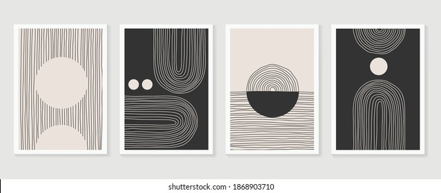Abstract wall arts vector collection. Black and white organic shape Art design for poster, print, cover, wallpaper, Minimal and natural wall art. Vector illustration.
