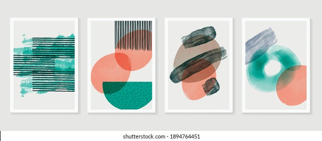 Abstract wall arts vector collection.  Earth tones organic shape Art brush design for wall framed prints, canvas prints, poster, home decor, cover, wallpaper. Vector illustration